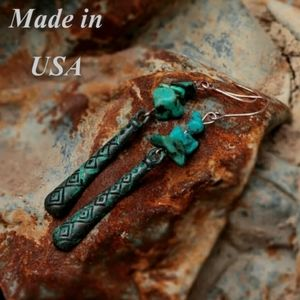 🎀Natural Turquoise Stone Patina Earrings